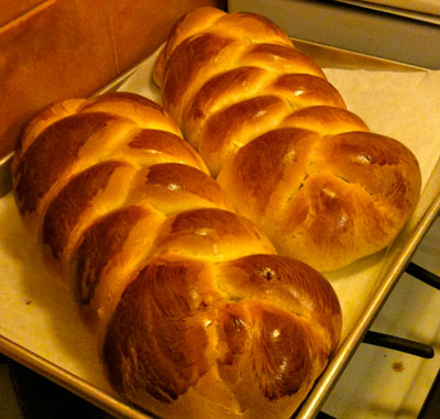Two loaves of Honey Challah bread.